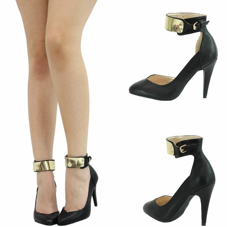 Black And Gold Ankle Strap Heels - Qu Heel