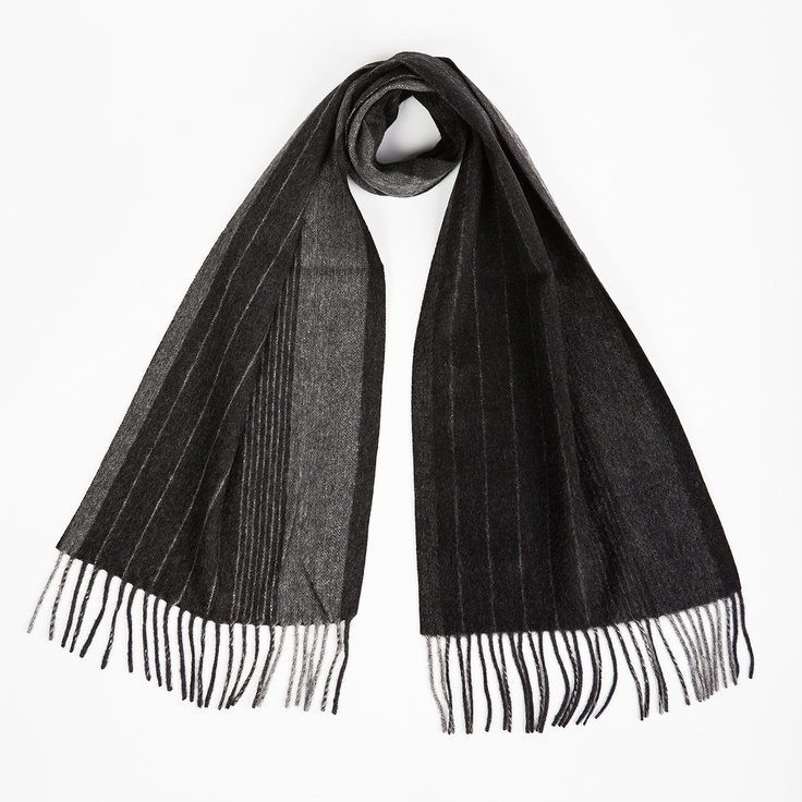 Cashmere Scarf 13x70 Black Gray  by A Cashmere - Exceptional design and extraordinary craftsmanship make this scarf a truly elegant accessory. Made from 100% cashmere in a water-weave weave, this cozy wrap is the perfect weight for wrapping around your neck on chilly days.