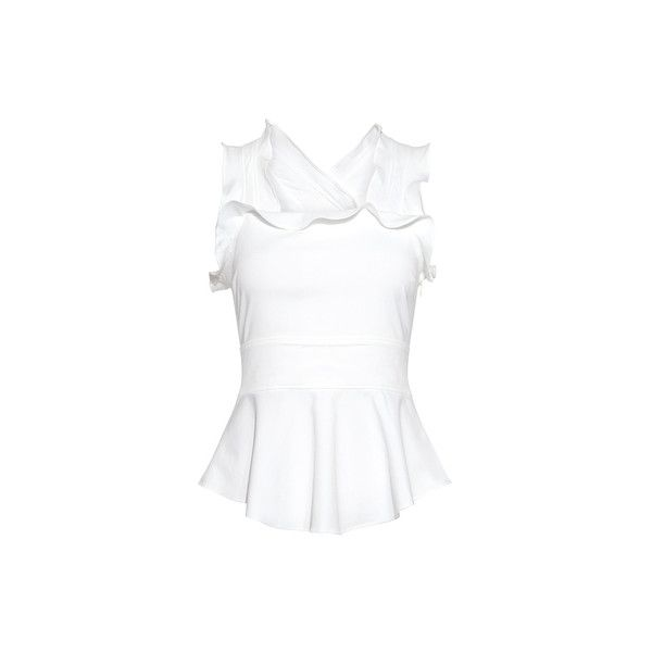 Marissa Webb - Zora Ruffled Blouse ($245) ❤ liked on Polyvore featuring tops, blouses, peplum tops, strappy top, white peplum top, white ruffle blouse and flounce top