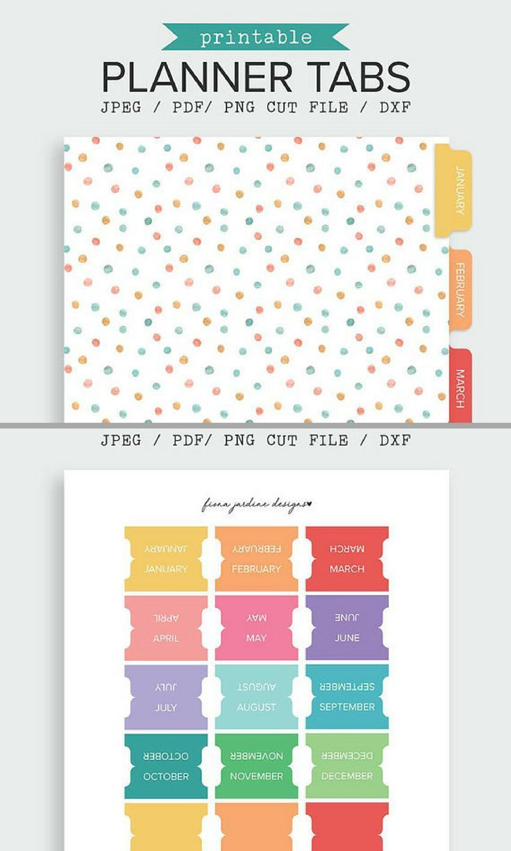 Planner Monthly Tabs Printable Planner Tab Planner Divider