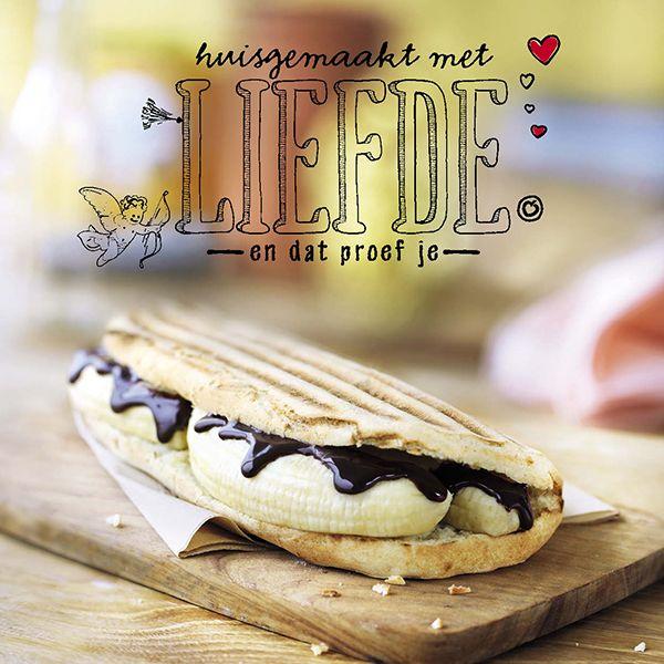 Verleiding! Hot sandwich banaan met chocolade.