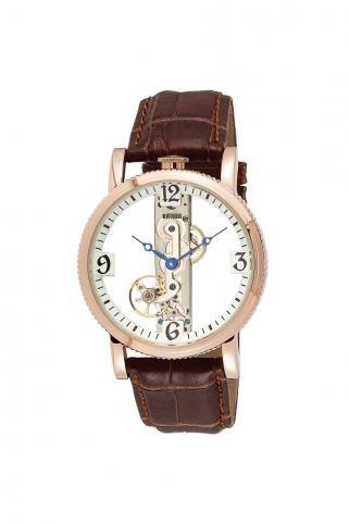 Akribos XXIV Viaduct Mechanical Skeleton Strap Watch Gold/Brown, $129.99