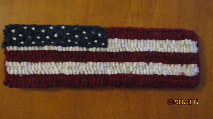 "Primitive Hooked Rug ~ ""Patriotic American  Flag"" Table Runner Small, Folk Art by TheCrazyWoolLady on Etsy"