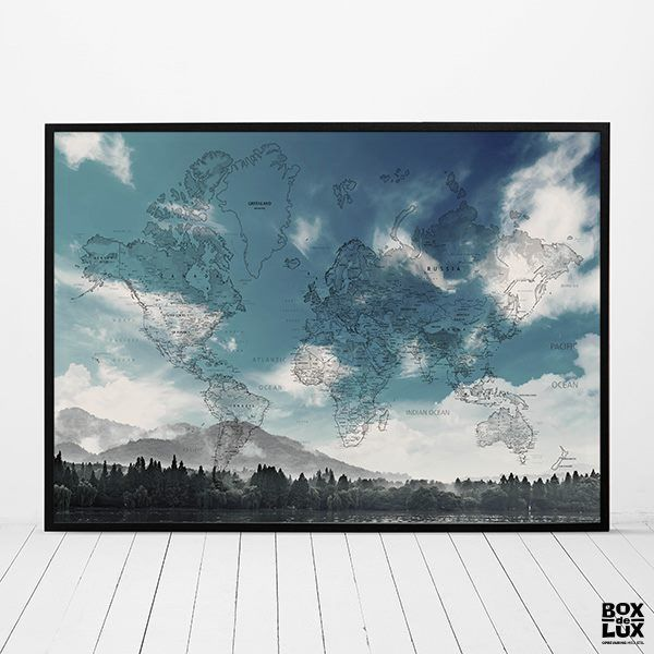Plakat - Verdenskort, Mountain view