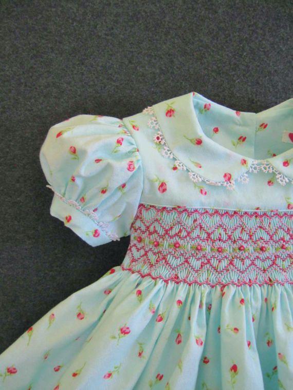 Size 6Mo Baby girl Smocked dress Pink rosebuds Aqua dress
