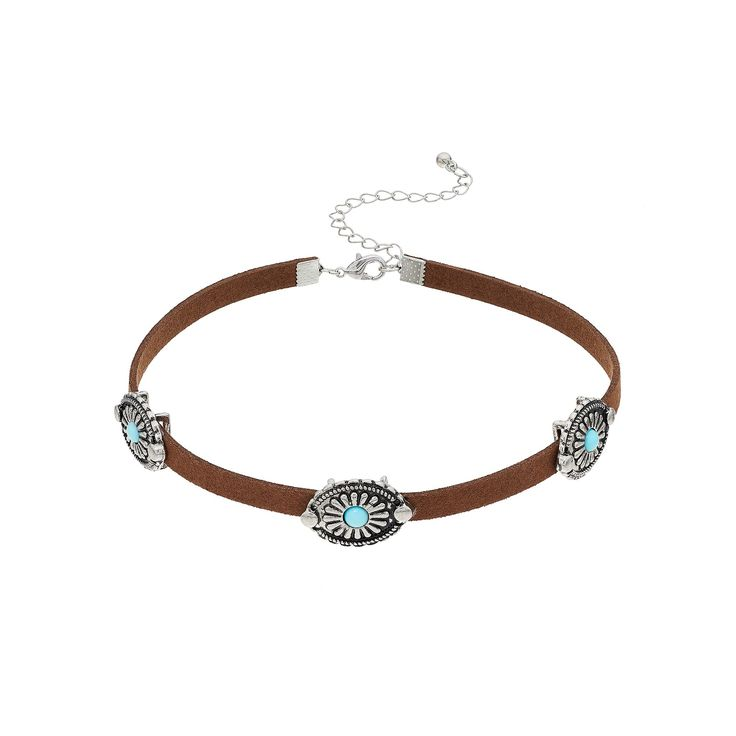 Mudd® Simulated Turquoise Concho Choker Necklace, Women's, Brown