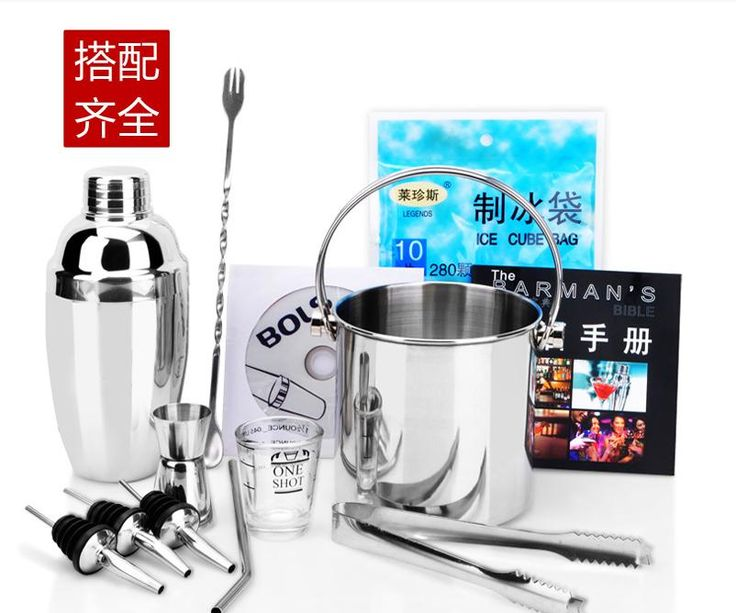 Kitchen Dining Barware Bar Sets Stainless steel cocktail shaker wine mouth ice clamp spoon straw With ice bucket suit 11pcs/set
