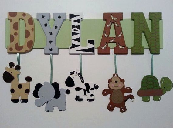 6 Letter Name Custom Jungle Zoo Safari Themed Name Sign