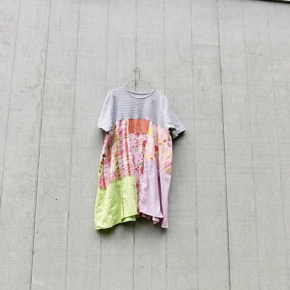A comfortable knit and cotton tunic. This sweet artsy tunic dress is great for playing in the city and then out to dinner or a concert in the park - made from cotton and knit and pieced together in a funky kind of way that is very flattering to the body :) lots of funky in this little tunic / dress. you will love how it hangs and flows! * color palette - off white, gray, pink and green SIZE - as is XLarge - XXLarge - if you or larger and would love to have it i can adjust some - let me k...