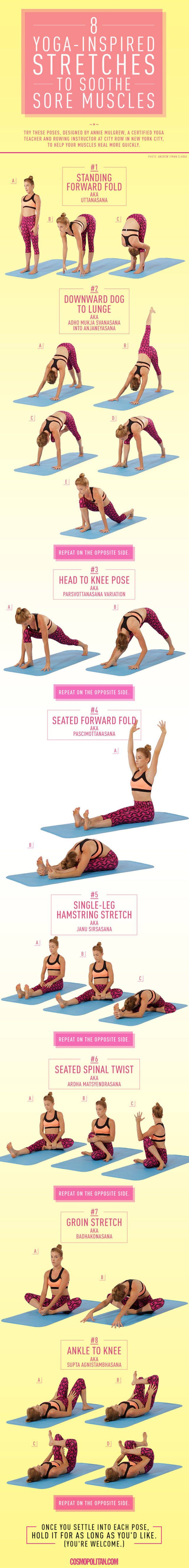 Say hello to yoga for sore muscles.