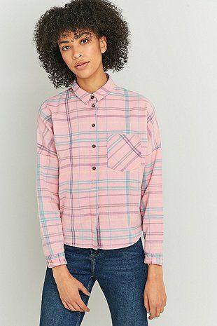 BDG Dolman Sleeve Pink Flannel Shirt