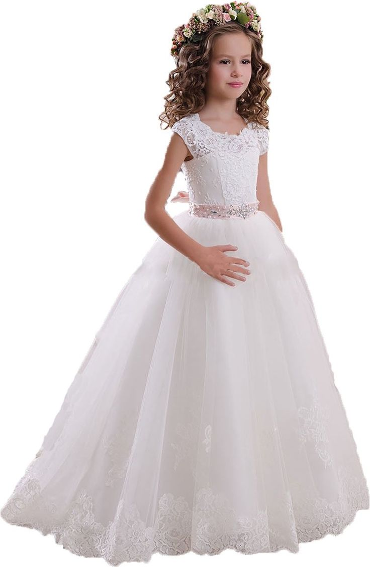 Amazon.com: DressHome Scoop Lace Flower Girls Dresses Belt Girls First Communion Dress: Clothing