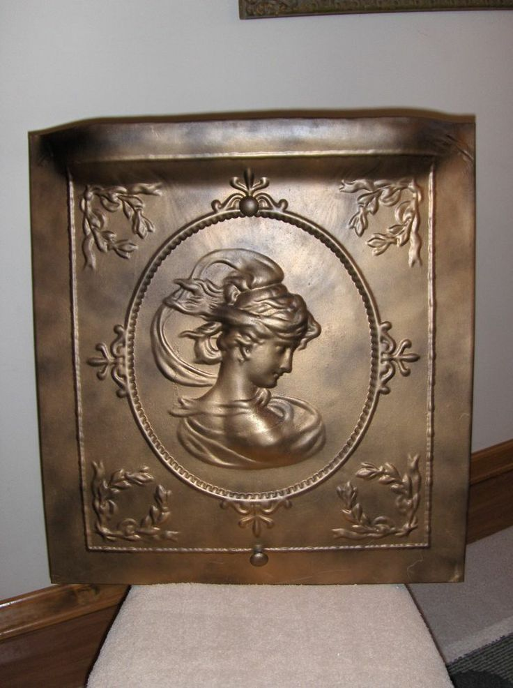 Antique Ornate Victorian Tin Summer Fireplace Cover Greek Goddess? Fancy Design