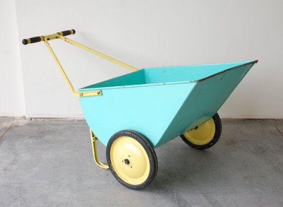 Vintage Metal Wheel Barrow Gardening Cart In Aqua By SugarSCOUT