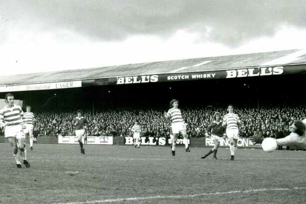 Jim Pearson scores for St Johnstone against Celtic at Muirton Park. (1973) pic Richard Wilkins