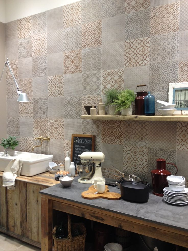 Patchwork cement tiles in a dusty color palette at @fapceramiche