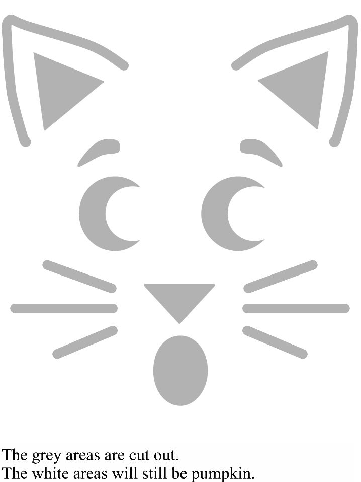 kitty cat pumpkin carving template