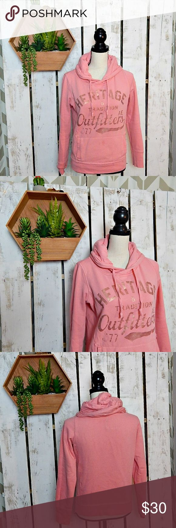 Pink American Eagle Hoodie Pink american eagle hoodie with gold lettering Pocket in the front. American Eagle Outfitters Tops Sweatshirts & Hoodies