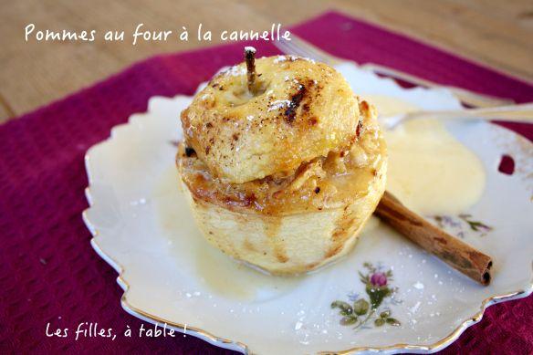 Pommes au four à la cannelle et  crème anglaise / Les filles à table
