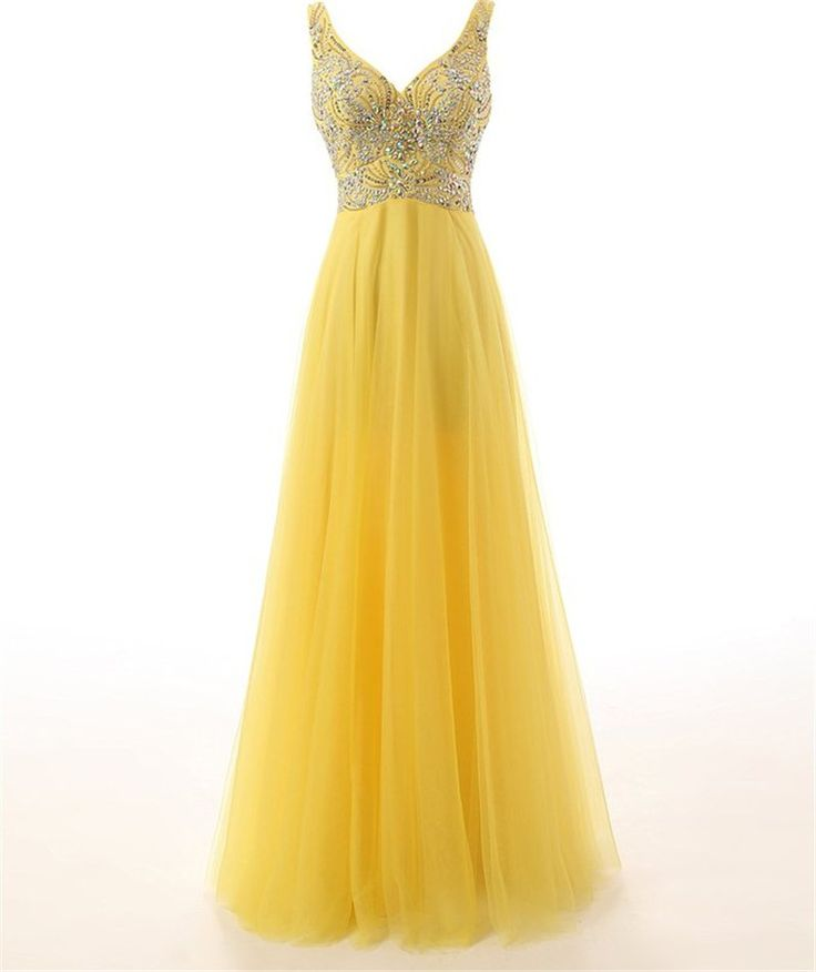 Formal Evening Gowns Dresses Festa Curto Crystals Yellow