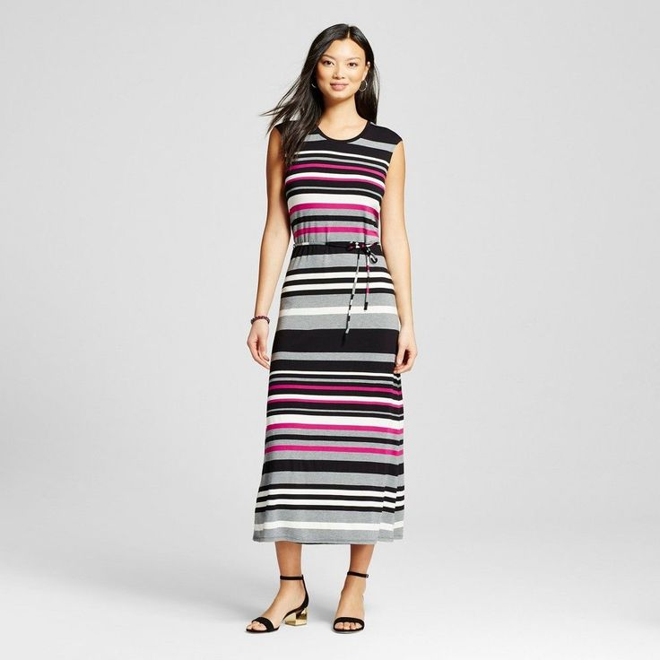 Women's Striped Short Sleeve Maxi Springtime - Merona Pink Multi Xxl, Springtime Pink