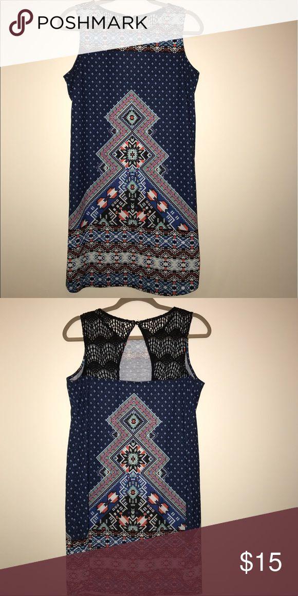 patterned dress multicolor aztec print short dress/light poly spandex/sleeveless Xhilaration Dresses