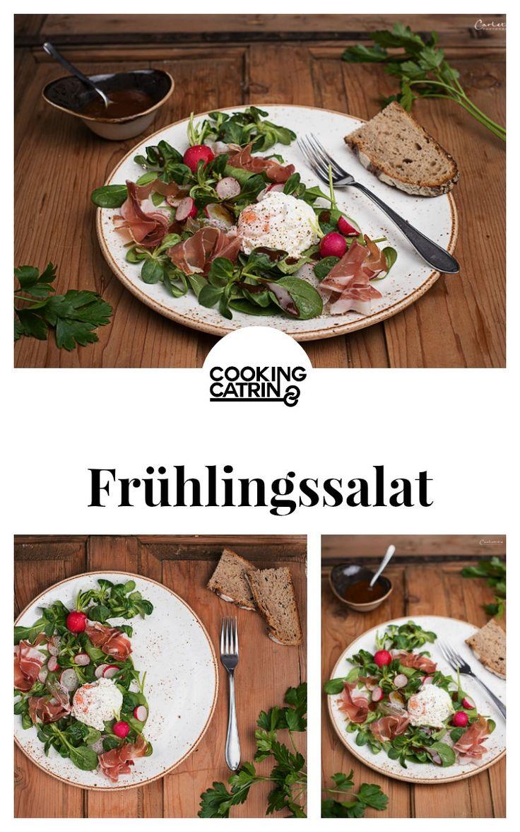 Frühlingssalat, Spinatsalat, spring salad, spinach salad, pochiertes Ei, poached egg, Eiersalat, egg salad, spring recipe, Frühlings Rezept, leicht, gesund, healthy...http://www.cookingcatrin.at/fruehlingssalat-mit-pochiertem-ei/