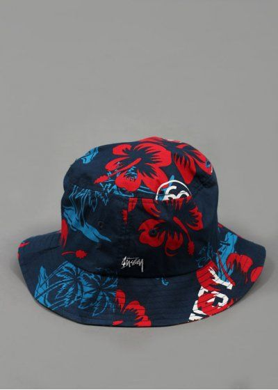 Floral Bucket Hat - Navy - Headwear from Triads UK
