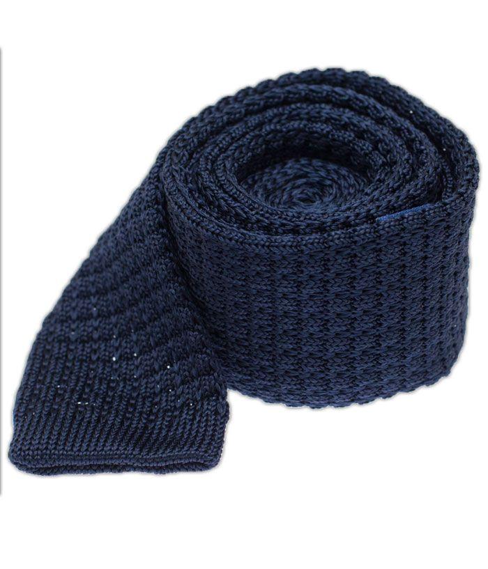The Tie Bar - Regular Length Textured Solid Knit - Navy