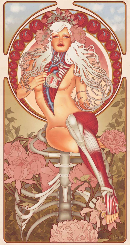 Les illustrations et collages de l'artiste russe FFO, basé à Moscow, qui mélangePin-Ups américaines, planches d'anatomie vintage et Art Nouveau dans de ma
