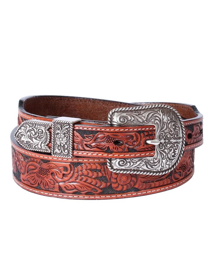 wrangler 174 s tooled leather belt belts buckles