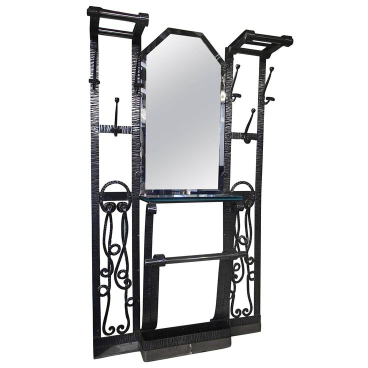 Wrought Iron Wardrobe with Mirror and Umbrella Stand | From a unique collection of antique and modern coat stands at https://www.1stdibs.com/furniture/more-furniture-collectibles/coat-stands/