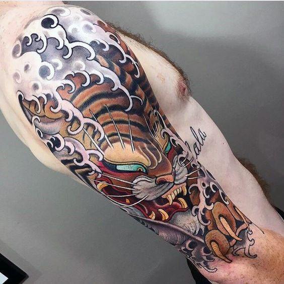 Ocean Waves Japanese Tiger Guys Half Sleeve Tattoos