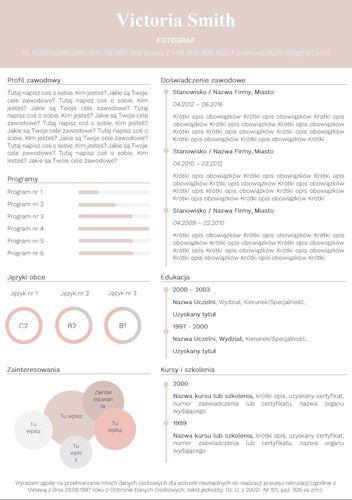 Szablon CV Tiffany różowe resume http://bestcv.eu/szablon-cv-list-motywacyjny-referencje-tiffany