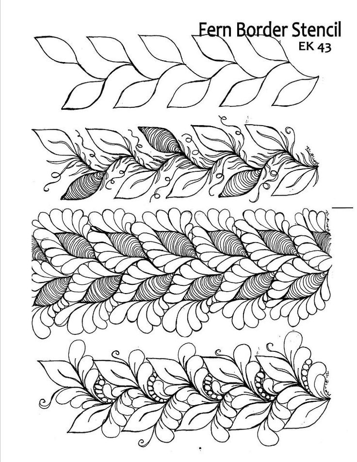 HQ quilting tip of the day: Here's the last in our series of stencil embellishing ideas. This example starts with a fern border design. Embellish it by stitching the design but adding vein lines, micro quilting, and tendrils around the leaves. Or stitch around the leaves with feathers, with or without pebbles. From https://www.facebook.com/HandiQuilter