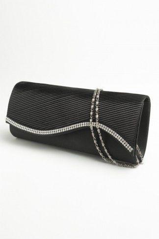 Black silver crystal clutch - ardenes $18.50