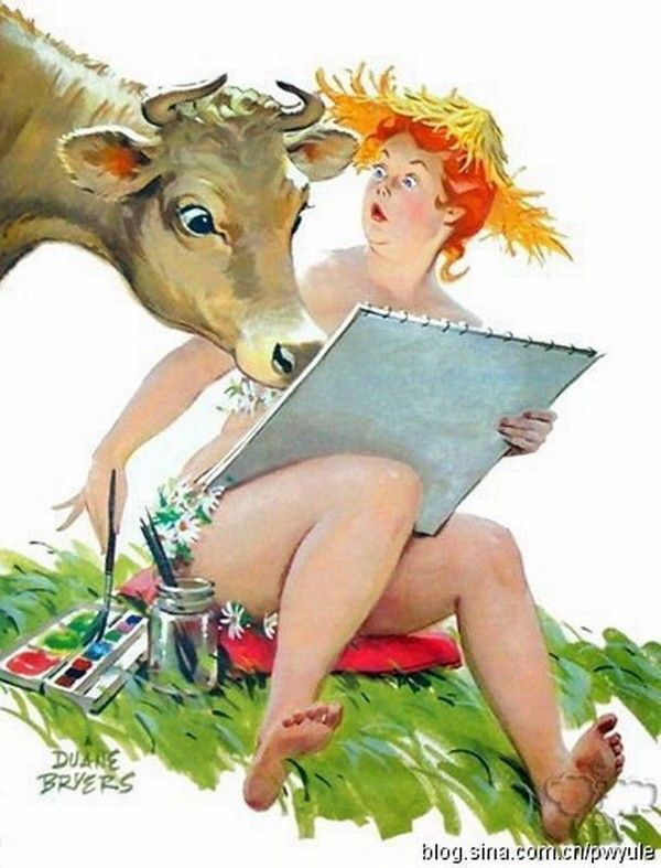 Hilda - with cow looking over her shoulder at her painting