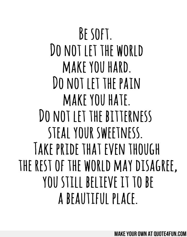 Be soft.  Do not let the world  make you hard.  Do not let the pain  make you hate.  Do not let the bitterness  steal your sweetness.  Take ...