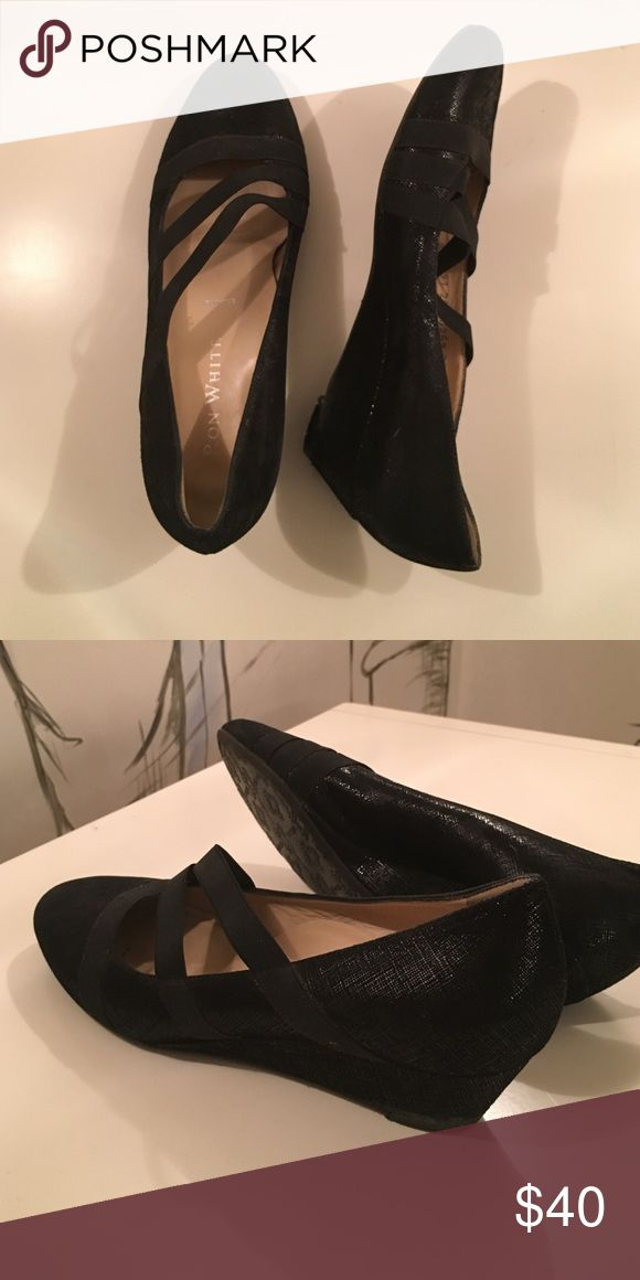 Black shimmer flats with strap Great Ron white flats with elastic wrap. Barely worn. Made with rubber soles and a small wedge heel. Ron White Shoes Wedges