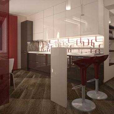 Японские красные шторы в интерьере кухонь фото. Японская штора как перегородка в интерьере кухни. Кухонный гарнитур до потолка примеры дизайна. Дизайн кухонь в квартире. Дизайн просторных кухонь в квартире. Дизайнеры интерьеров кухни в Омске. Бардовые барные стулья, бардовые японские занавески в бело-шоколадном интерьере кухни фото. Дизайн кухни в стиле минимализм. Дизайн кухни в стиле бело-коричнево-красного минимализм.
