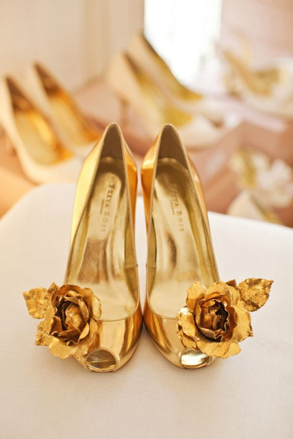 {Gold} Wedding Shoes | via LoveMyDress | photography by Naomi Kenton