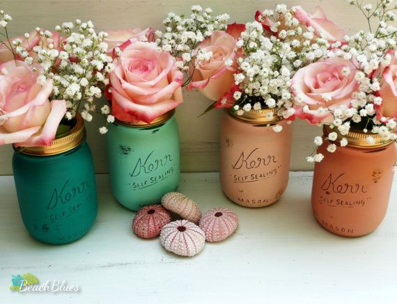 Fall Beach Chic Wedding Painted and Distressed Mason Jars - Home Decor - Vase on Etsy, $26.00
