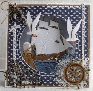 Handmade card by DT member Anja with Craftables Tiny's Ocean Set (CR1279), Punch Die Fish (CR1364), Creatables Tiny's Tall Ship (LR0416), Porthole (LR0417) and Ropes (LR0418) from Marianne Design