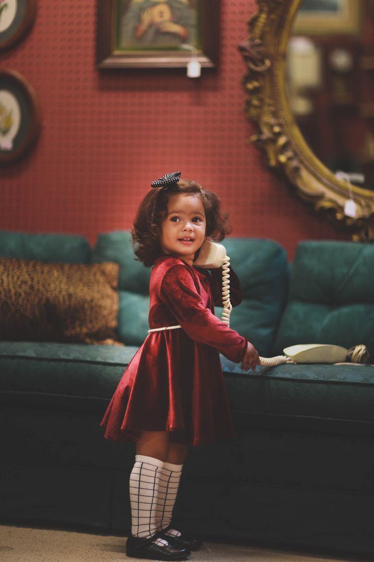 Red Velvet Dress for Toddler Girl