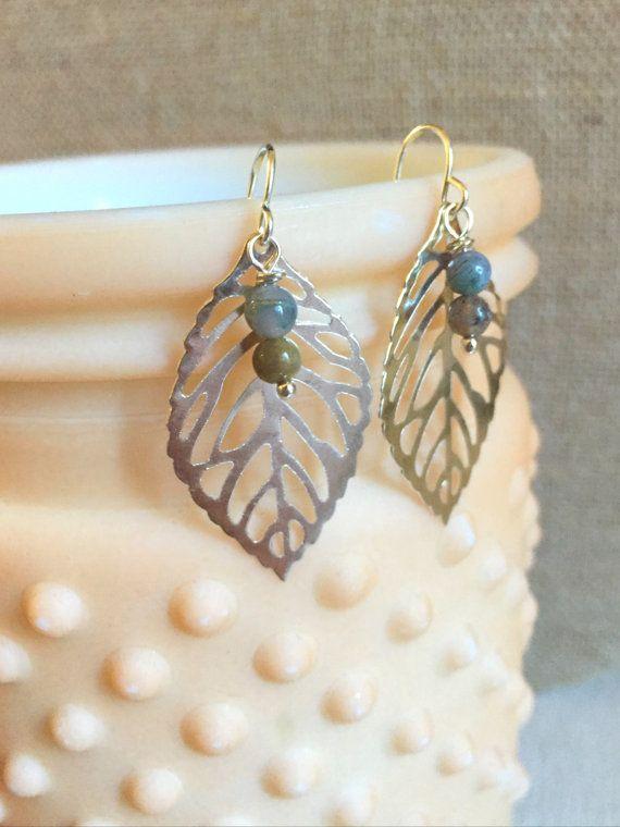 Silver Leaf Earrings - Beaded Leaf Earrings - Spring Leaf Earrings - Spring Jewelry - Lightweight Earrings - Beaded Jasper Earrings