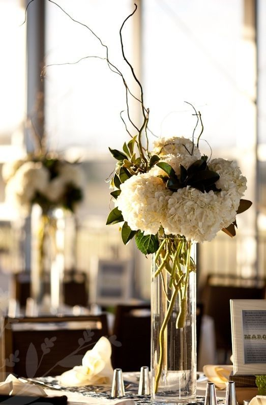 sticks and hydrangea wedding centerpieces   Wedding! / Tall centerpiece – white hydrangeas, no sticks    followpics.co