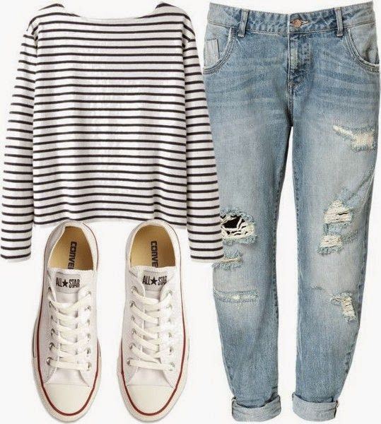 Very Beautiful Combination, Tattered Jeans, White-Black Striped, Comfort Shirt, So Adorable, White Sport Shoes. | Street Fashion