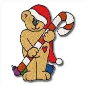 Candy Christmas Bear Embroidery Design