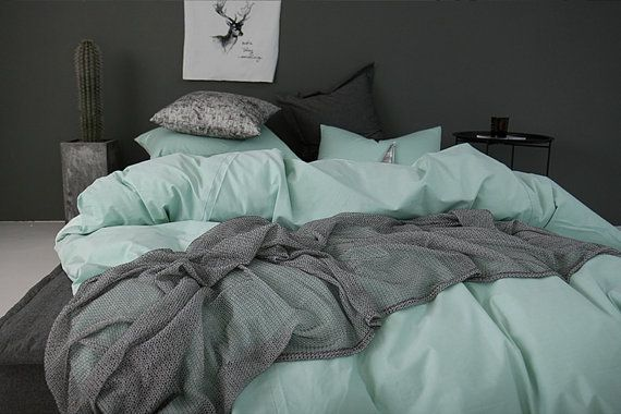 Mint / Light Teal Colored Soft Cotton Twin / Queen Size Bedding Set