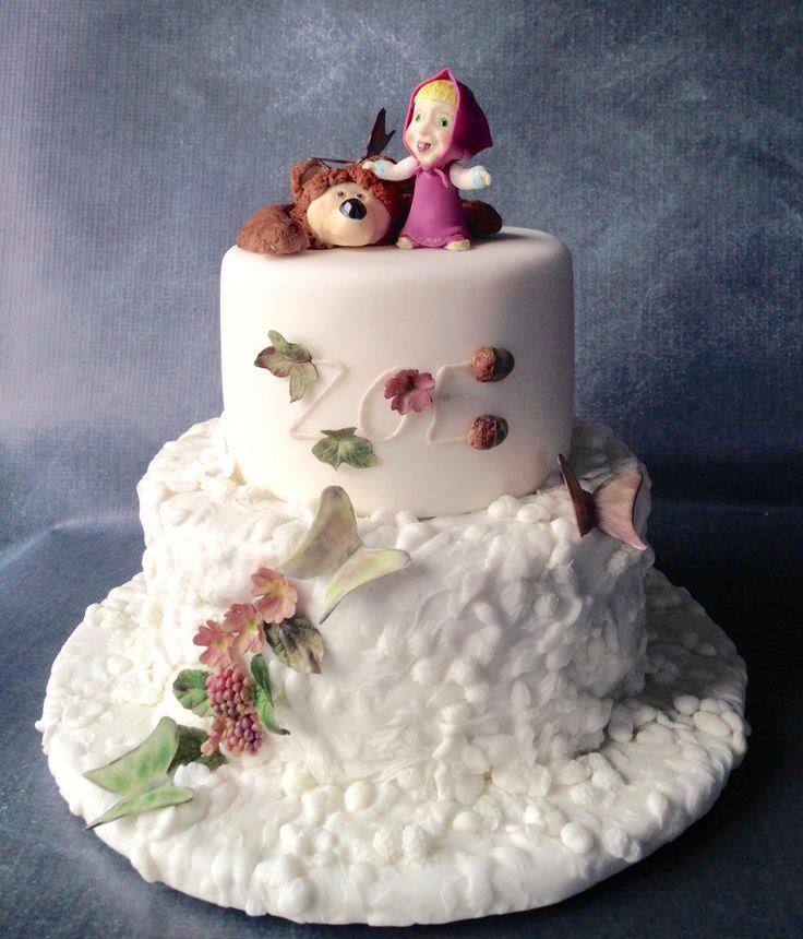 Masha and bear cake for a little romantic girl,chocolate cake,raspberry mousse,chocolate ganache and fondant